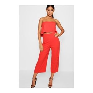 Red Bandeau Top & Culottes Co-Ord Set